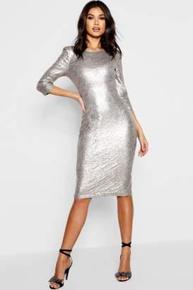 boohoo Boutique Sky Sequin Power Shoulder Midi Dress