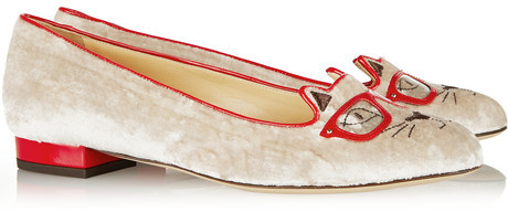 Charlotte Olympia Clever Kitty embroidered velvet slippers