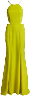 Marchesa Sleeveless Strappy Stretch Crepe Gown, Chartreuse