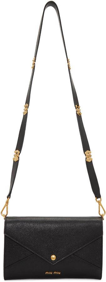 Miu MiuMiu Miu Black Leather Envelope Shoulder Bag