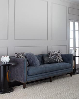"""Massoud Jillian Tufted Leather Sofa 90"""""""