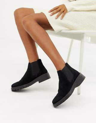 Miss Selfridge chunky chelsea boots in black