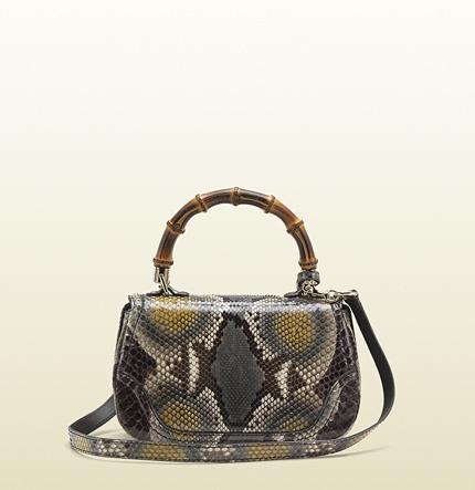 Gucci New Bamboo Python Top Handle Bag