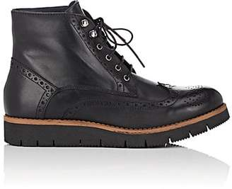 Barneys New York WOMEN'S LEATHER WINGTIP ANKLE BOOTS - BLACK SIZE 6
