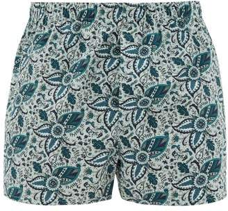 Sunspel Paisley Print Cotton Boxer Shorts - Mens - Blue Multi