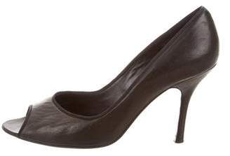 Lanvin Leather Peep-Toe Pumps