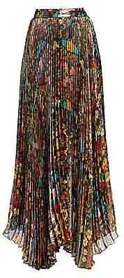 Alice + Olivia Women's Katz Floral Pleated Maxi Skirt