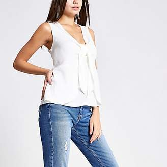 River Island White bow front tank top