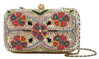 G Lish G-Lish Floral Beaded Hard Case Clutch