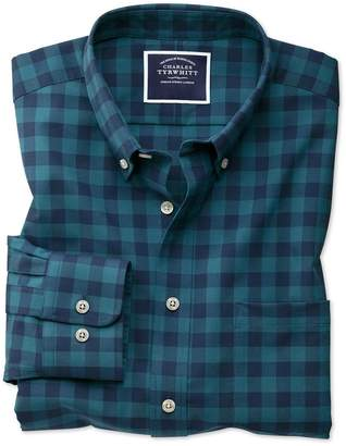 Charles Tyrwhitt Classic Fit Non-Iron Button-Down Teal Gingham Twill Cotton Casual Shirt Single Cuff Size Large