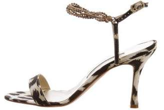 Manolo Blahnik Printed Ankle-Strap Sandals