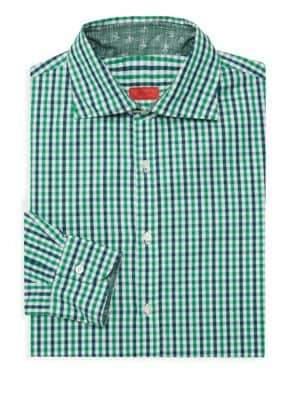 Isaia Checkered Long-Sleeve Dress Shirt