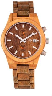 Earth Wood Castillo Wood Bracelet Watch W/Date Olive 45Mm