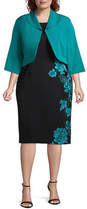 MAYA BROOKE Maya Brooke 3/4 Sleeve Jacket Dress - Plus