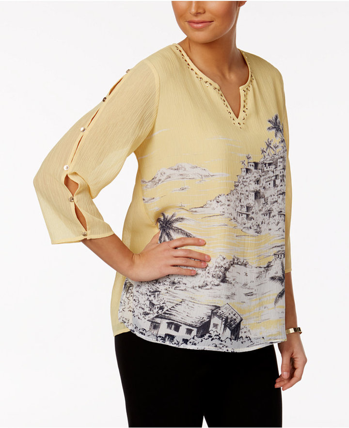 Alfred dunner seas the day button sleeve top shopstyle for Alfred dunner wedding dresses