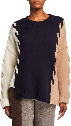 Monse Wool Cable-Knit Asymmetric Sweater