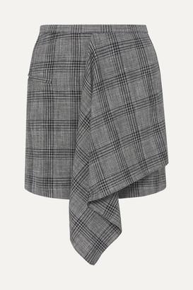 Isabel Marant Doleyli Draped Checked Cotton-blend Mini Skirt - Dark gray