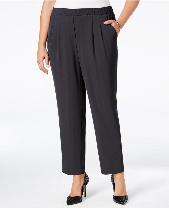 Calvin Klein Plus Size Soft Straight-Leg Pull-On Pants