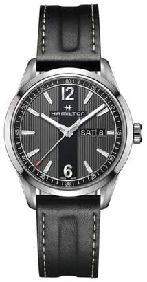 Hamilton American Classic Broadway Leather Strap Watch, 40mm