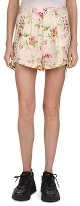 The Kooples Antique Flowers Lace-Up Detail Linen Mini Shorts
