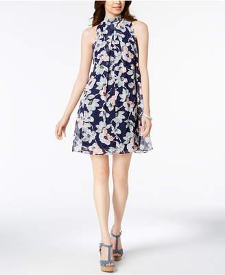 Robbie Bee Petite Floral-Print Mock-Neck Dress