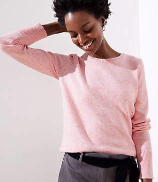 LOFT Petite Flecked Ribbed Cuff Sweater