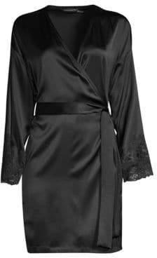 Natori Josie Sleek Lace-Accent Stretch Silk Wrap