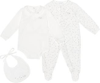 Il Gufo Cotton-blend onesie, playsuit and bib set