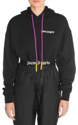 Palm Angels Women's New Basic Cropped Cotton Hoodie - Black White - Size Medium