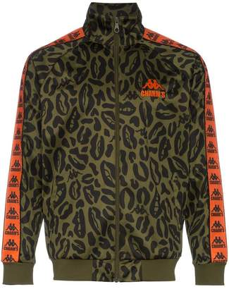 Charm's leopard printed logo embroidered jacket