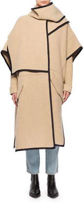 Victoria Beckham Victoria Wool-Blend Cape Coat w/ Attached Scarf & Satin Trim