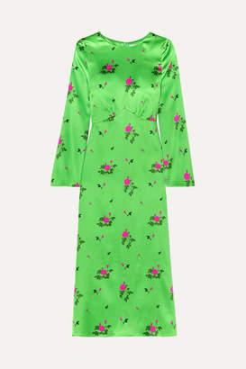 BERNADETTE - Neon Floral-print Silk-blend Satin Midi Dress - Green