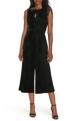 Adelyn Rae Simone Wide Leg Crop Velvet Jumpsuit