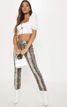 PrettyLittleThing Brown Snake Print Jeans