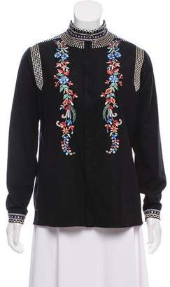 Vilshenko Embroidered Wool-Blend Top