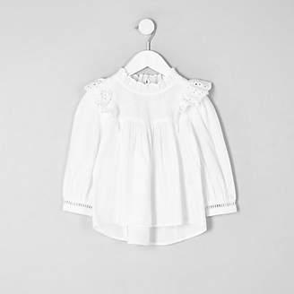 River Island Mini girls White frill broderie shirt