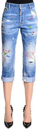 DSQUARED2 Tomboy Fit Painted Cotton Denim Jeans