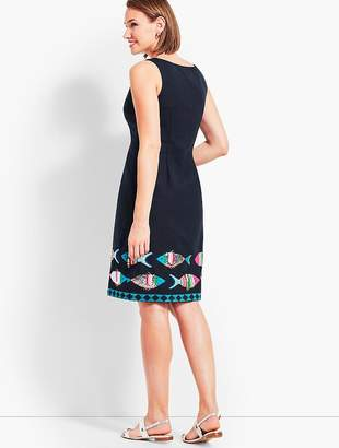 Talbots Embroidered Fish Sheath Dress