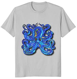 Psychedelic Vintage Colorful Blue Octopus Cool T-Shirt