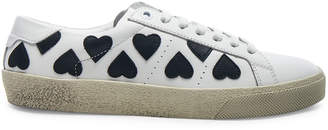Saint Laurent Leather Court Classic Heart Embroidered Sneakers