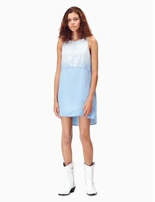 Calvin Klein indigo lyocell high neck sleeveless dress