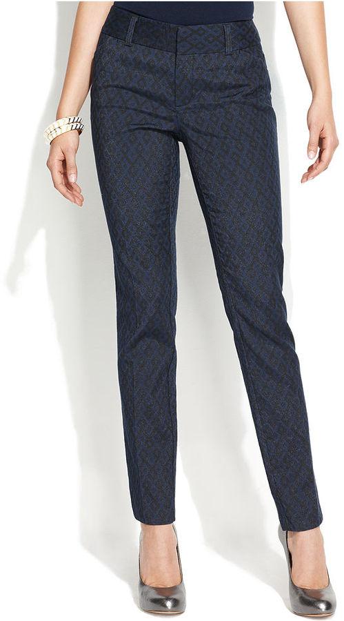 INC International Concepts Pants, Skinny Geometric-Print Jacquard