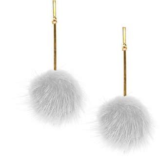 """Tuleste 2"""" White Mink Pom Pom Earrings"""