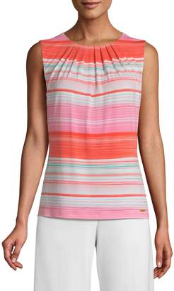 Calvin Klein Striped Pleated Tank Top