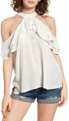 Women's Band Of Gypsies Ruffle Cold Shoulder Blouse $55 thestylecure.com