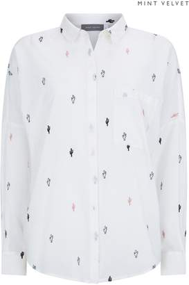 Next Womens Mint Velvet White Cactus Embroidered Shirt