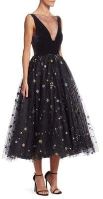 Monique Lhuillier Glitter Spot A-Line Tulle Dress