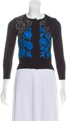 Oscar de la Renta Lightweight Cashmere Embroidered Cardigan w/ Tags