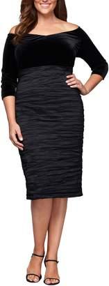 Alex Evenings Off the Shoulder Velvet Bodice Sheath Dress