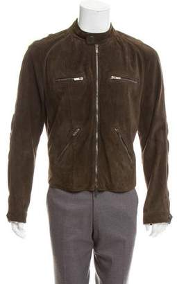 Giorgio Armani Suede Leather Moto Jacket